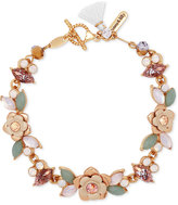 lonna & lilly Gold-Tone Flower, Stone and Crystal Toggle Bracelet