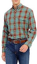 Daniel Cremieux Long-Sleeve Plaid Flannel Elbow-Patch Woven Shirt