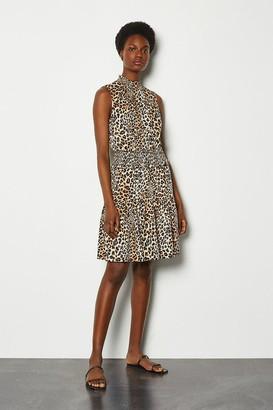 Karen Millen Sleeveless Animal Ruffle Dress