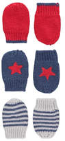 George 3 Pack Assorted Knitted Mittens