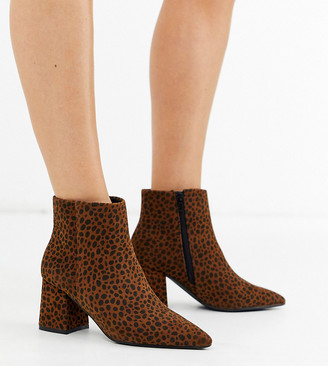 Simply Be extra wide fit Shauna block heel boot in leopard