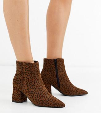 Simply Be Extra Wide Fit Simply Be extra wide fit Shauna block heel boot in leopard