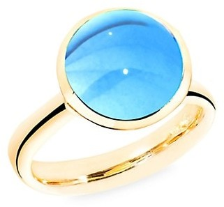 Tamara Comolli Large Bouton 18K Yellow Gold & Swiss Blue Topaz Ring