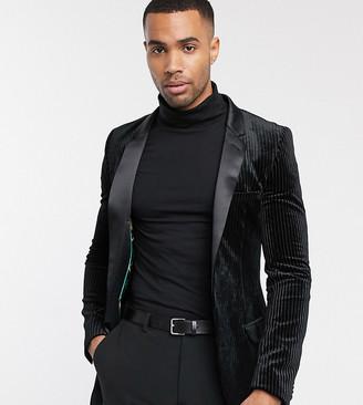 Asos Design DESIGN Tall super skinny tuxedo blazer with plisse velvet in black