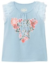 GUESS Blue Floral and Branded Frill Vest