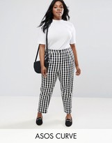 Asos Gingham Tapered Peg Trousers