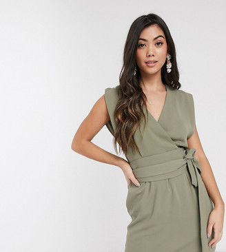 Asos DESIGN Petite split sleeve cap sleeve wrap mini dress with obi belt in sage green