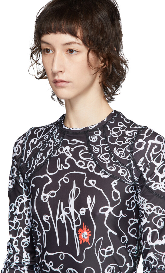 Thumbnail for your product : Charles Jeffrey Loverboy Black & White Scribble Sports T-Shirt