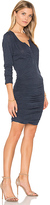 Lanston Ruched Henley Dress in Blue. - size XS (also in )