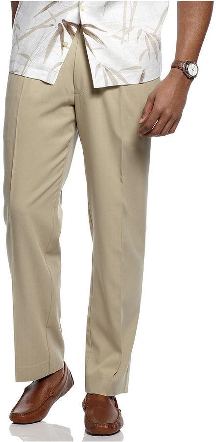 Tommy Bahama Big and Tall Pants, Flying Fishbone Silk Flat Front Dress Pants