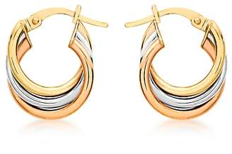 IBB 9ct Gold Three Colour Hoop Earrings, Multi