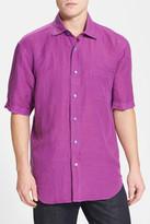 Robert Talbott Classic Fit Short Sleeve Linen Blend Sport Shirt