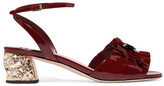 Miu Miu Crystal-embellished Patent-leather Sandals - Burgundy