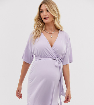 Asos DESIGN Maternity plunge tie waist kimono sleeve jersey slinky beach cover up in icy lilac-Purple