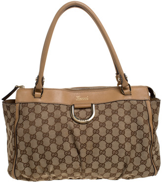 Gucci Beige GG Canvas Abbey D Ring Satchel