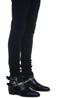 Amiri Black Bandana Leather Buckle Boots