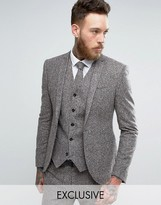 Noak Super Skinny Suit Jacket In Fleck Wool