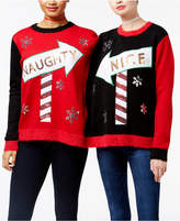 Hooked Up by Iot Juniors' 2-Person Naughty & Nice Holiday Sweater