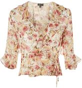Topshop Floral Print Frilled Wrap Top