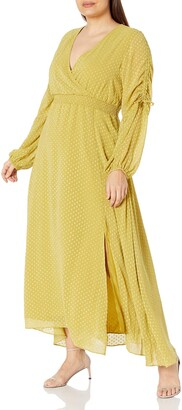 KENDALL + KYLIE Women's Regular Maxi Dress with Ruched Sleeves