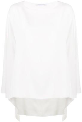 Alberta Ferretti cape-sleeved crepe de Chine blouse