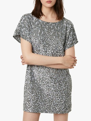 French Connection Aatami Embellished T-Shirt Mini Dress, Silver