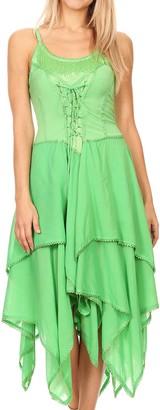 Sakkas 9031 Lady Mary Jacquard Bodice Handkerchief Hem Dress - Limegreen - Plus Size