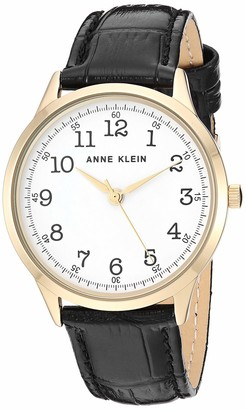 Anne Klein Women's Easy to Read Gold-Tone and Black Leather Strap Watch AK/3560WTBK
