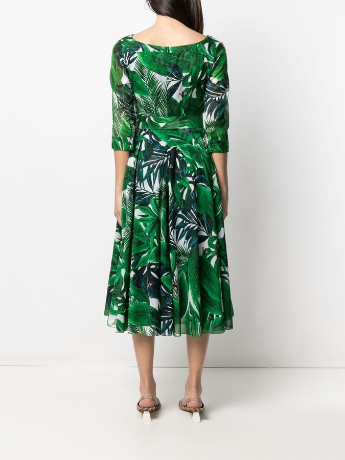 Thumbnail for your product : Samantha Sung Leaf Print Midi Dress