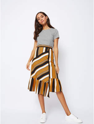 George Frill Bottom Striped Midi Skirt
