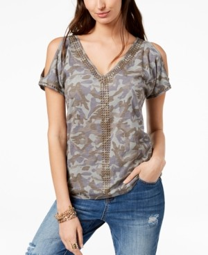 INC International Concepts Inc Cotton Camouflage Cold-Shoulder T-Shirt, Created for Macy's