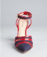 Pour La Victoire navy canvas and red patent leather point toe 'Kiran' pumps