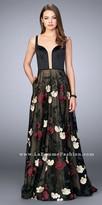 La Femme Floral Embroidered Keyhole Open Back Prom Dress