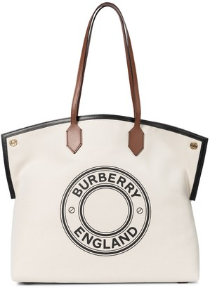 Burberry Society leather-trimmed canvas tote