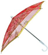 sourcingmap a15033000ux0221 Dancing Edge Floral Pattern Red Mini Lace Parasol Umbrella - Silver Tone/Gold Tone/White