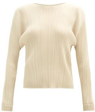 Pleats Please Issey Miyake Round-neck Technical-pleated Top - Ivory