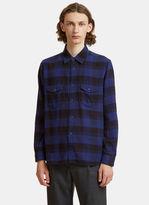 Saint Laurent Oversized Plaid Patch Pocket Shirt In Navy
