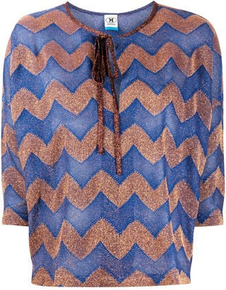 M Missoni Zigzag Three-Quarter Sleeve Blouse