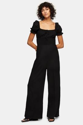 Topshop Womens Black Puff Sleeve Jumpsuit - Black