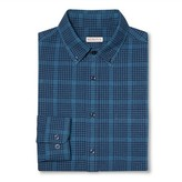 Merona Men's Plaid Button Down Shirt Dark Blue