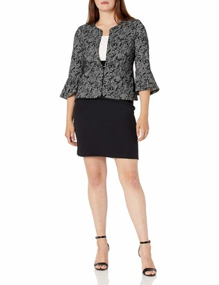 Sandra Darren Women's 2 PC 3/4 Bell Sleeve Jacket Dress Set Black/Ivory 12