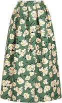 Rochas Green Magnolia Print Full Skirt