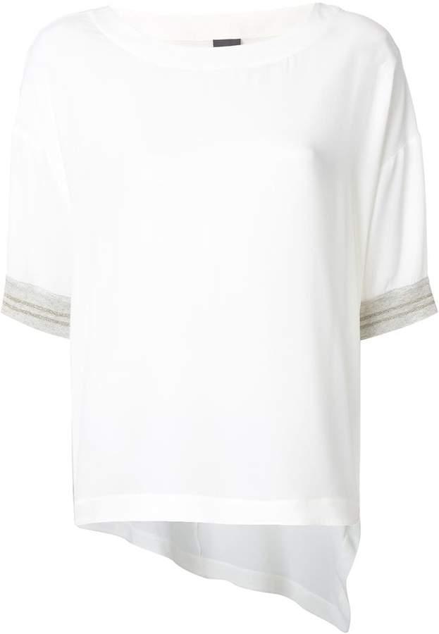 Lorena Antoniazzi stripe cuff asymmetric hem T-shirt
