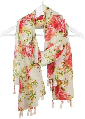 DII Tickled Pink Vintage Romantic Roses Printed Oversized Scarf Shawl with Fringe 32 x 70""