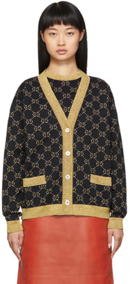 Gucci Black and Gold Lurex GG Cardigan
