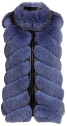 The Fur Salon Chevron Sectioned Fox Fur Leather-Trim Vest