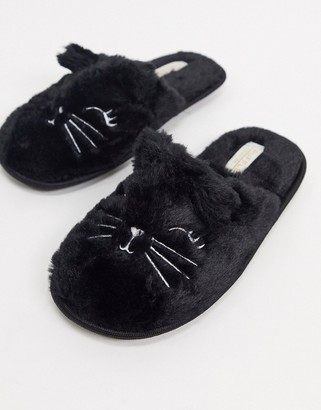 Truffle Collection halloween cat slippers in black