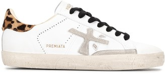 Premiata Steven leopard-heel low-top sneakers