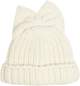 Federica Moretti Bow-detail knitted beanie hat