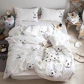 Kids Duvet Cover Set 3 Piece Soft Cotton Puppy Dog Printed Bedding Set for Children,Lightweight,Hypoallergenic,Reversible Animal Cartoon Modern Boy's Bedding Set Twin,White